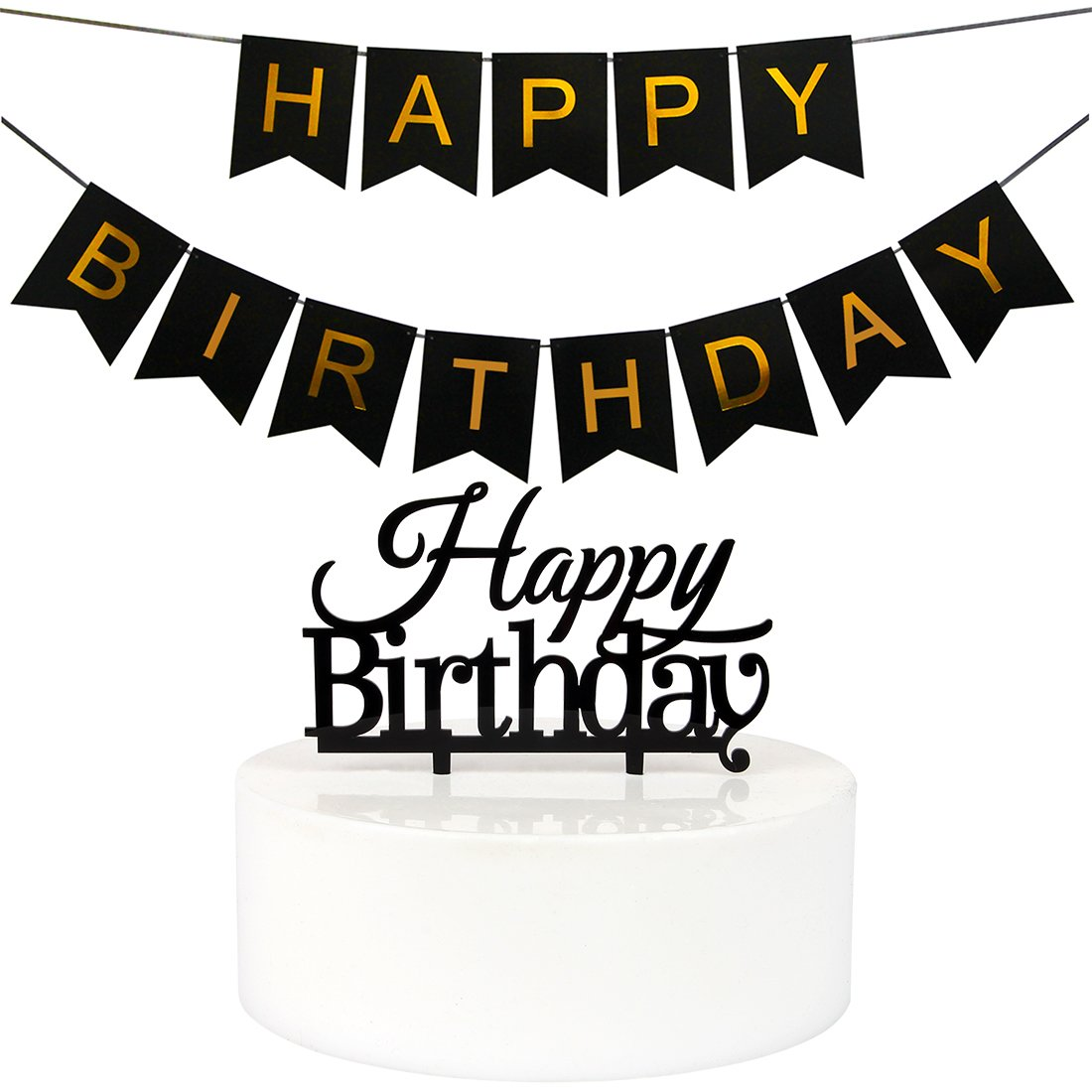 Get Quotations INNORUTM Black Happy Birthday Banner Bunting And Cake Topper Party Supplies