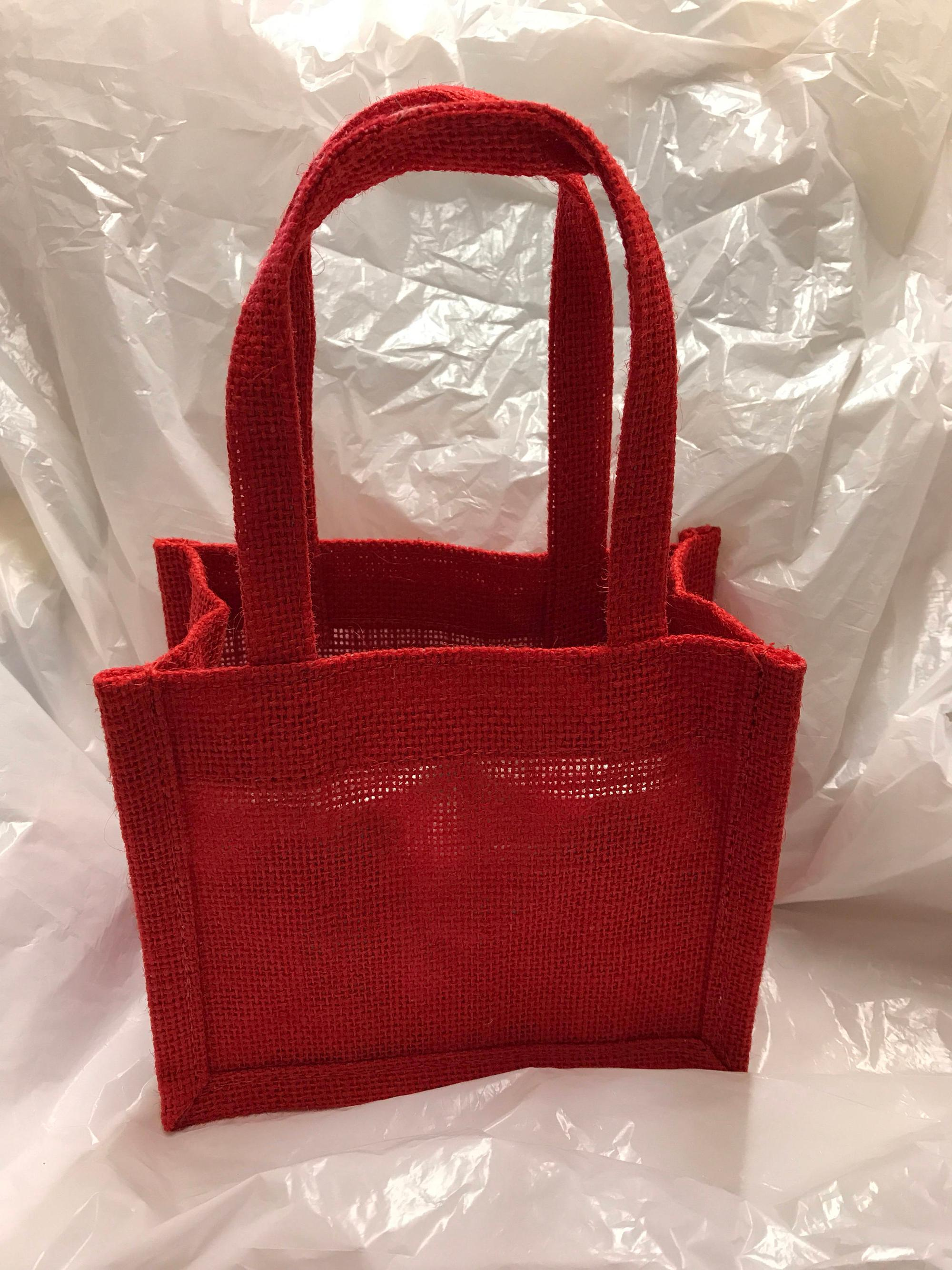 Handmade wedding favor red jute wine jam gift tote bag