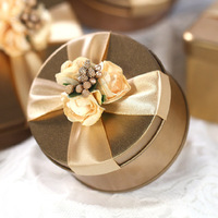 Wedding Reurn Gift Gold Flower Cross Ribbon on the Top Deep Gold Round Tin Wedding Candy Box