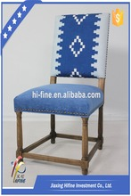 French empire style antique dining wooden chair fashion blue furniture SL-10018