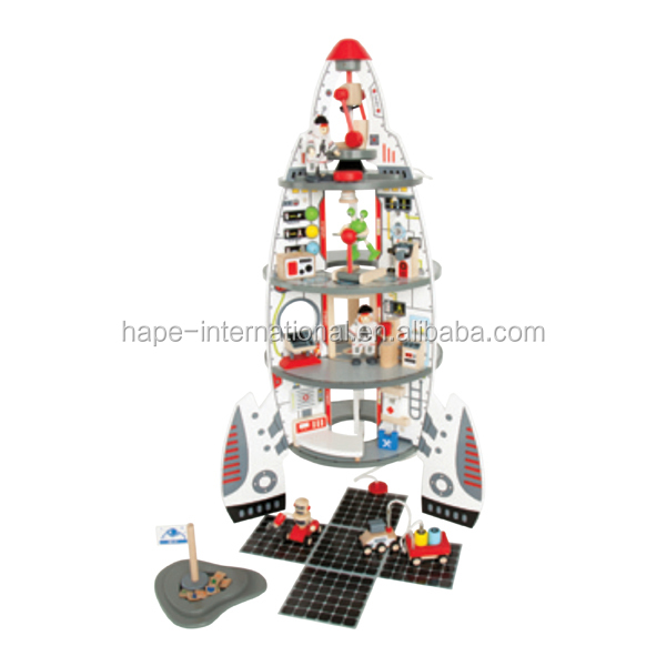 Funny discovery space center kids wooden toys rocket