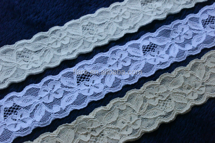 "Top quality Ivory, White,Off-white good Stretch Lace 1.5"" wide for Bridal Garters Lingerie elastic Spandex lace trim"