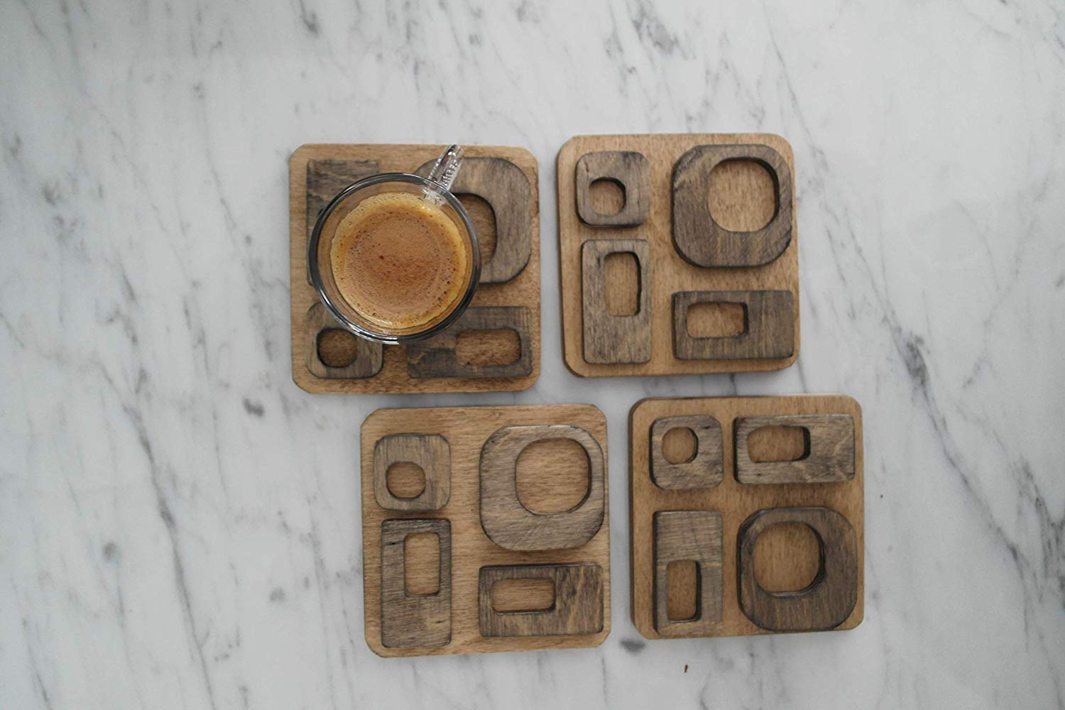 Oak - Walnut, Set of 4 Hand painted wooden coasters, Drink Coasters, Hexagon coasters, contemporary, Beautiful and unique gifts