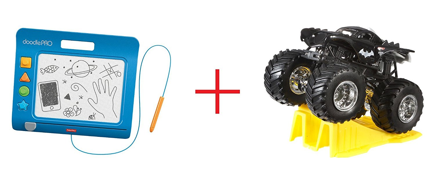 Fisher-Price DoodlePro Slim - Blue and Hot Wheels Monster Jam 1:64 Scale Diecast Truck (Colors/Styles May Vary) - Bundle