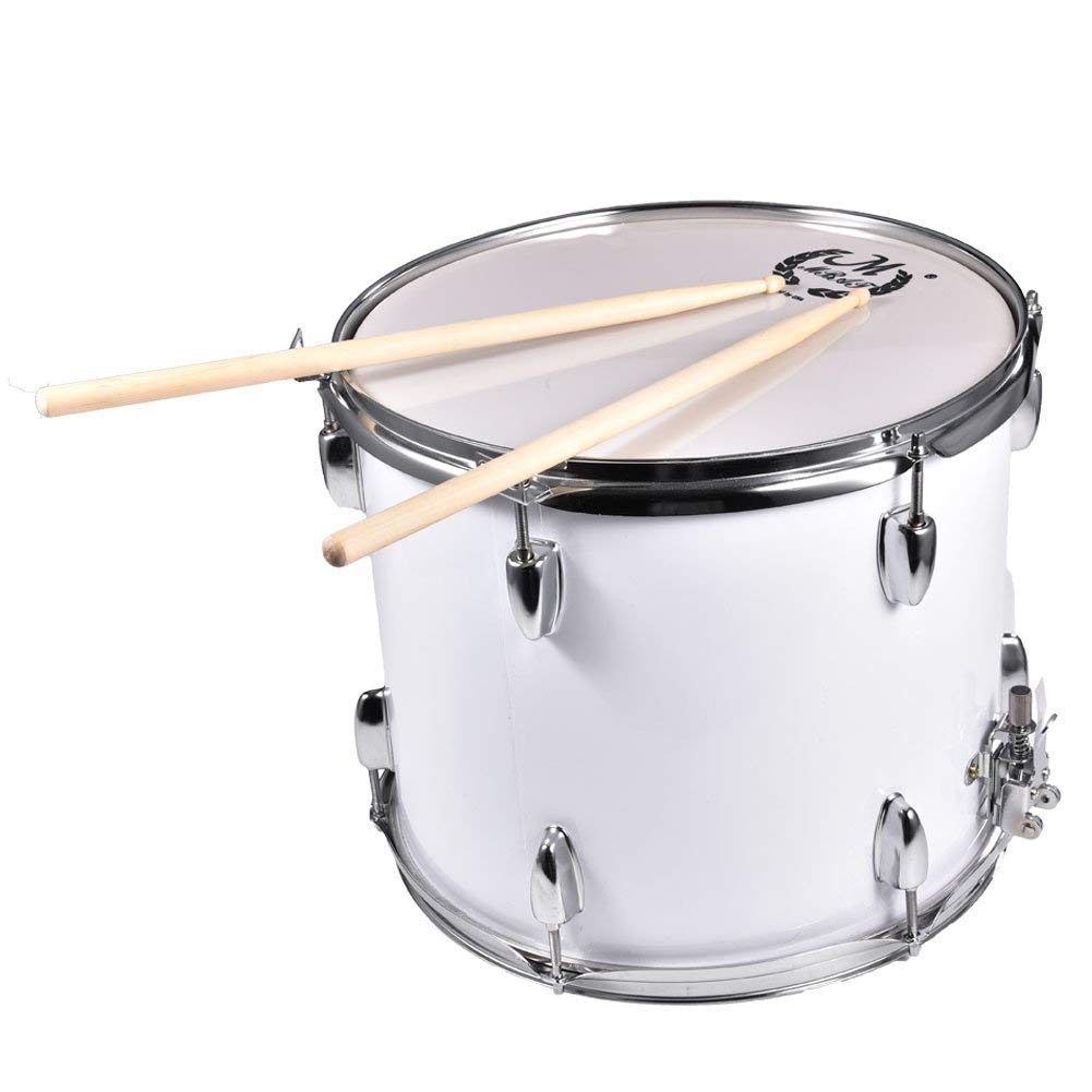 Marching Drum, 15.9 x 12.6 Inch Stainless Steel Marching Drums Percussion with Drumsticks Shoulder Strap Drum Key