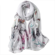 Hangzhou hot sale lady elegant 100% silk scarf shawls digital Print georgette chiffion brocade scarf