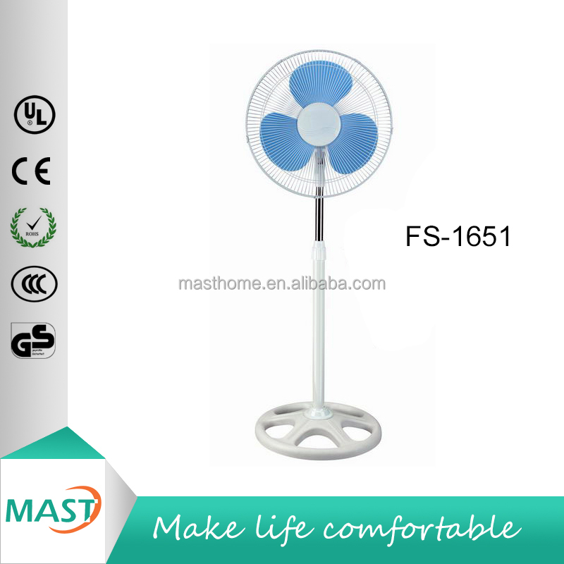 40W 16 inch with Light 5 Holes Round Base Adjustable Height Oscilating Stand Fan