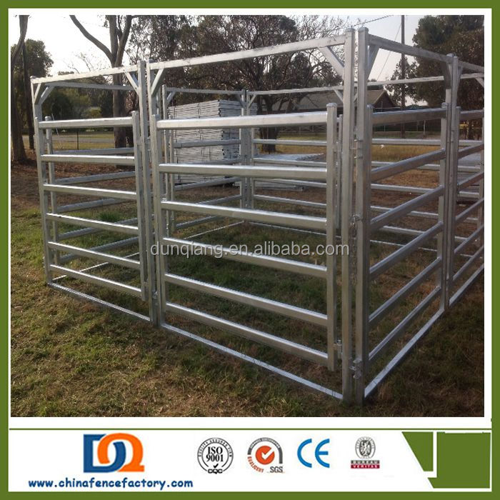 Free standing heavy duty cattle yard panels with a wing gate