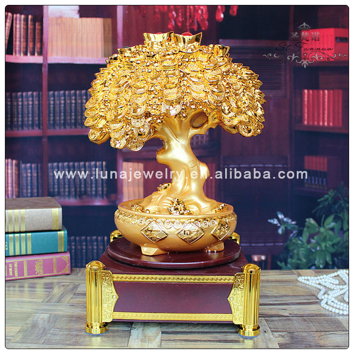 Golden Color Resin Money tree with Chinese Coin