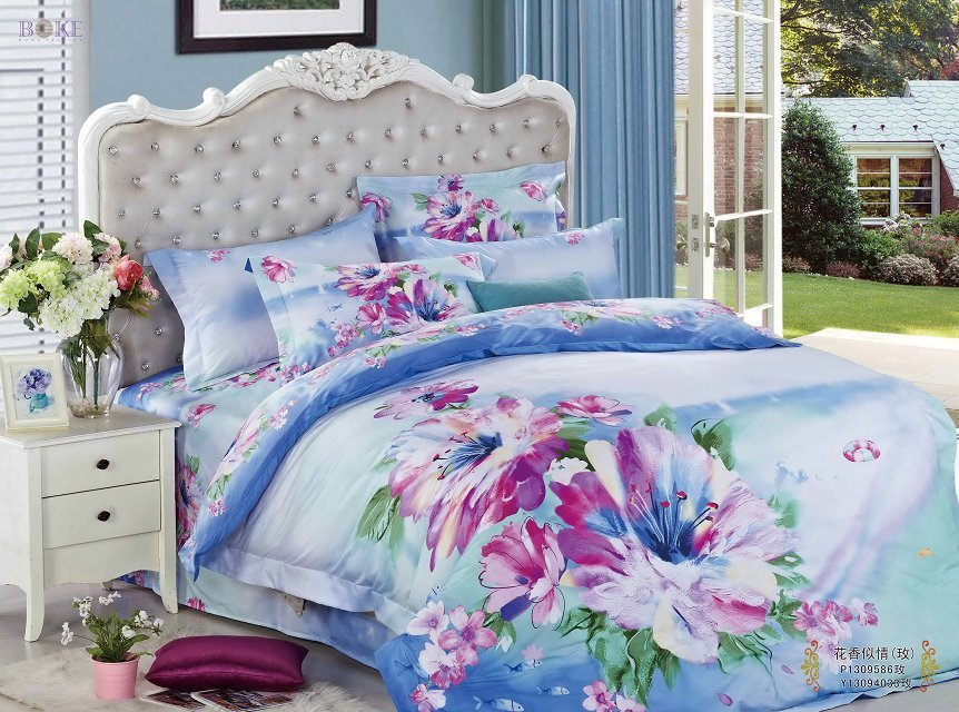 Purple Floral Blue Prints Queen Size 100%cotton Teen 3d