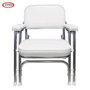 Marine White Wise Folding Double Leg Deck Chair With Stainless Steel Frame  For Boat