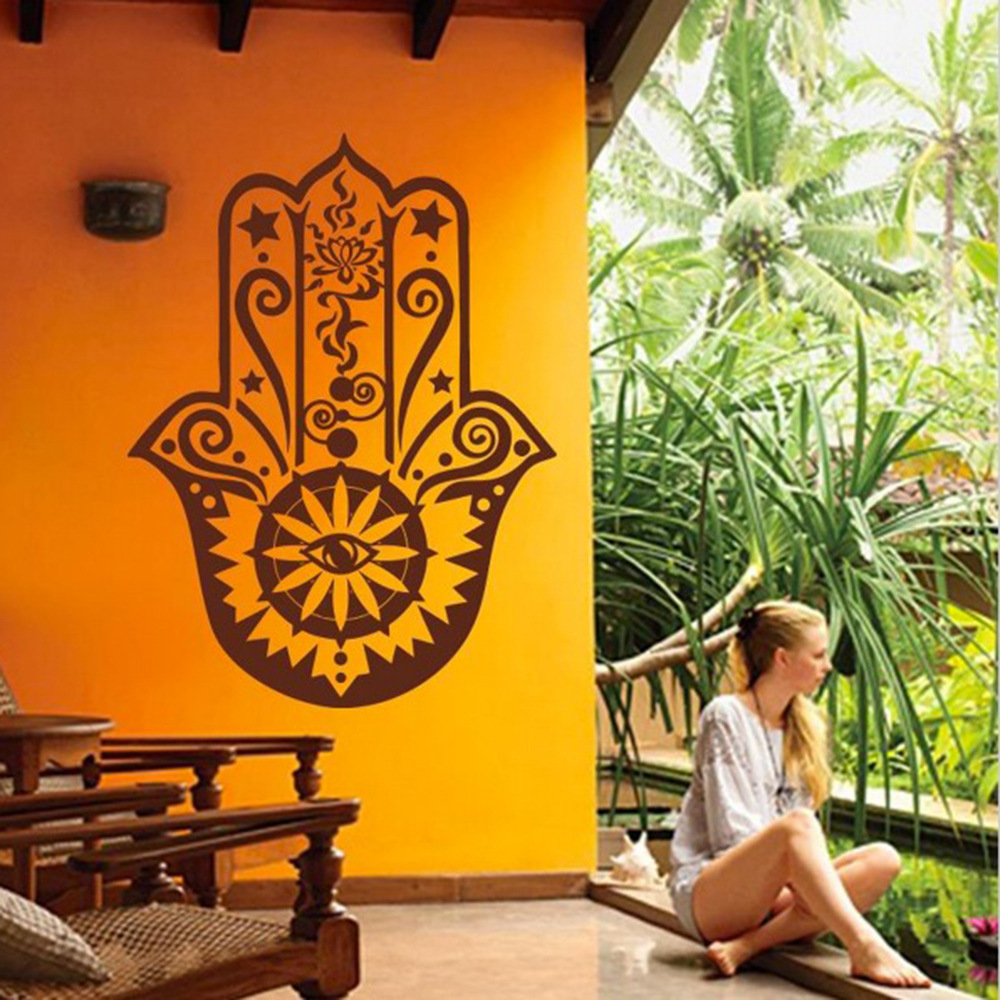 Hamsa Hand Wall Decal Vinyl Fatima Yoga Vibes Sticker Fish Eye Decals Indian Buddha Home Decor Lotus Pattern Mural sticker
