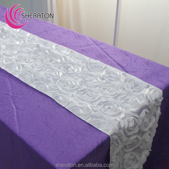 Fancy satin rosette Table runner for wedding party banquet /gold pink blue flower Embroidered dining table decoration