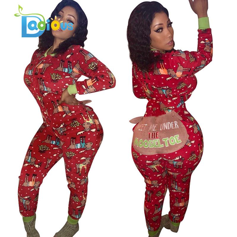Hot jual 2020 musim dingin desain Eropa berkerudung Natal cetak slim V-neck jumpsuit baju tidur wanita