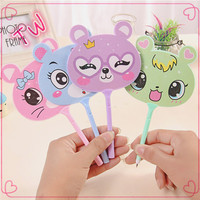Wholesale school supplies stationery Cheap decorative ballpoint pens ,kids hot animal design fan shaped plastic ballpoint pen