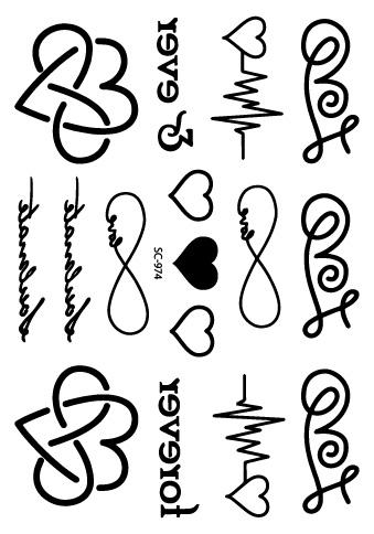 SC-974 Neueste T...U Letter Design Tattoo