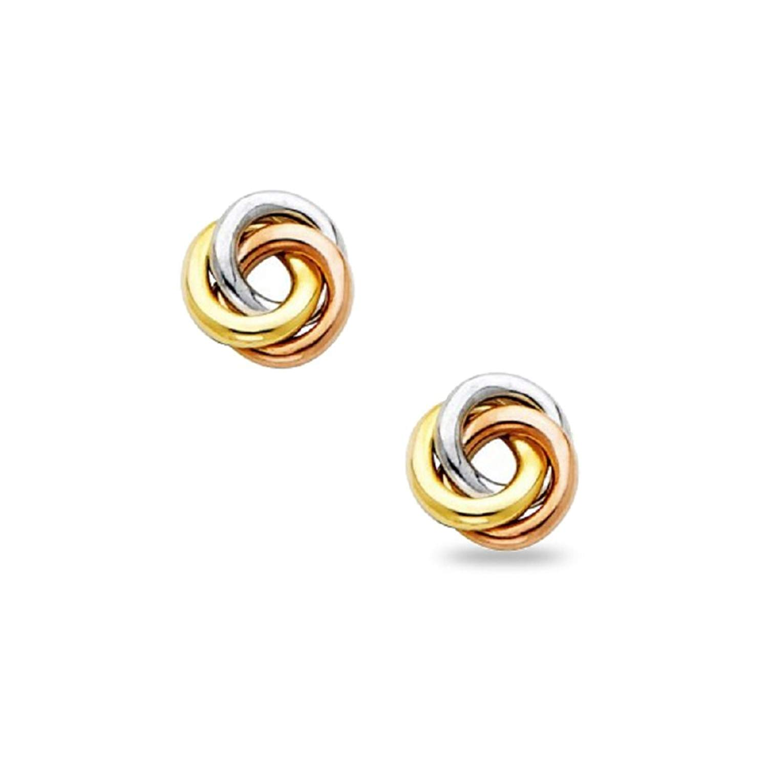 14K Yellow Rose /& White Gold Tri Color Love Knot Earrings