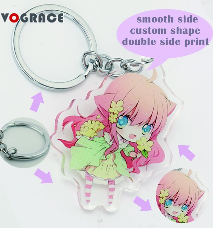 Vograce corte a laser promoção epóxi claro brilho acrílico em forma de presente dois lados impresso personalizado keychain anime