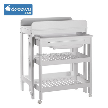 Awesome Baby Changing Table With Bath Comfort Pad Lockable Wheels