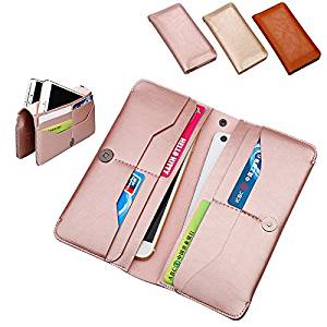 Universal Cellphone Wallet Clutch Case Handbag Organizer with 8 Card Holder and 2 Large Pocket for iPhone 6 Plus/6/SE/ 5S/5C/5/4S/4, Samsung Galaxy S6/S5/S4/S3,Note 5/4/3 (Rose Gold)