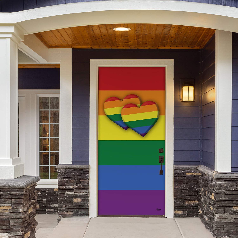 """Victory Corps Pride Double Heart - Outdoor PRIDE LGBT Garage Door Banner Mural Sign Décor 36"""" x 80"""" Front Door -The Original Holiday Front Door Banner Decor"""