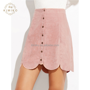 2018 Cute Style Suede Button Up Scallop Hem Short Skirt In Pink