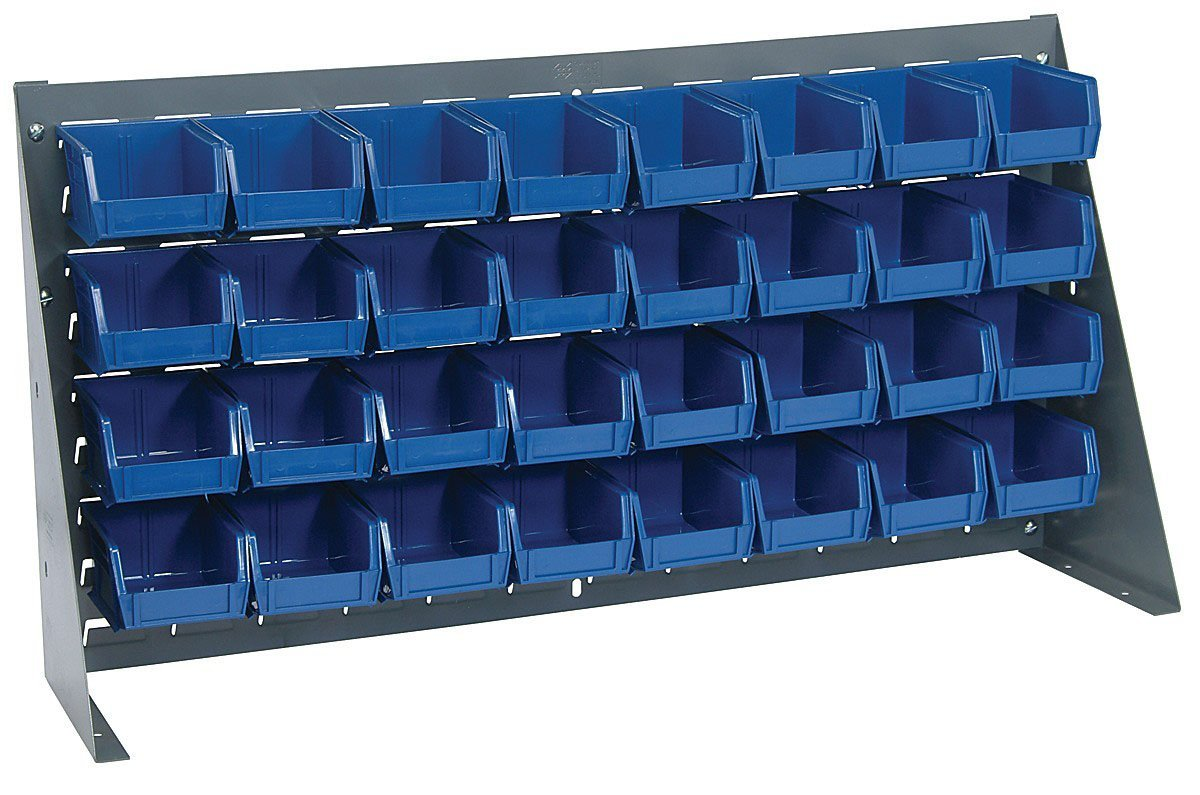 "Large Bench Rack with Bins (Complete Package) Bin Dimensions: 3"" H x 4 1/8"" W x 5 3/8"" D (qty. 32), Bin Color: Blue"