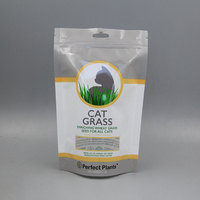 Cat Feed Cat Grass Pouch Bag Plastic zipper bag for enriching wheat grass seed