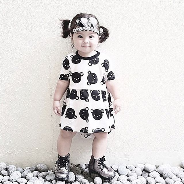 Retail girls dresses summer 2016 White cartoon bear dovetail dress with short sleeves baby girl clothes