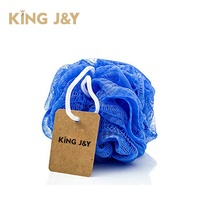 5.9 inch recycle PE material mesh pouf shower ball flower bath with paper card logo