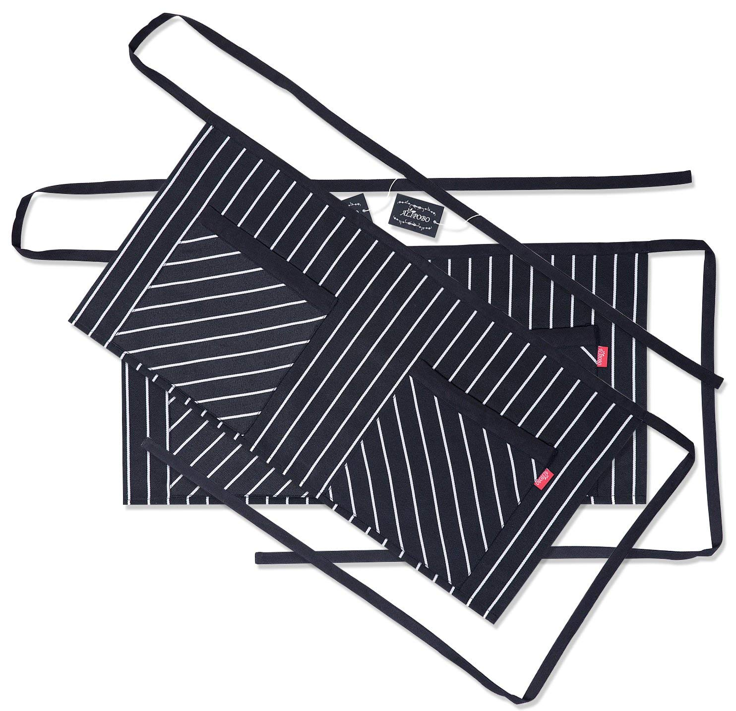 ALIPOBO Waist Apron with 2 Pockets (2 Pack, 25.2 x 13 inches) Restaurant Kitchen Cafe Short Half Aprons for Women, Men, Chef, Server, Waitress, Waiter, Bartender, Black and White Pinstripe