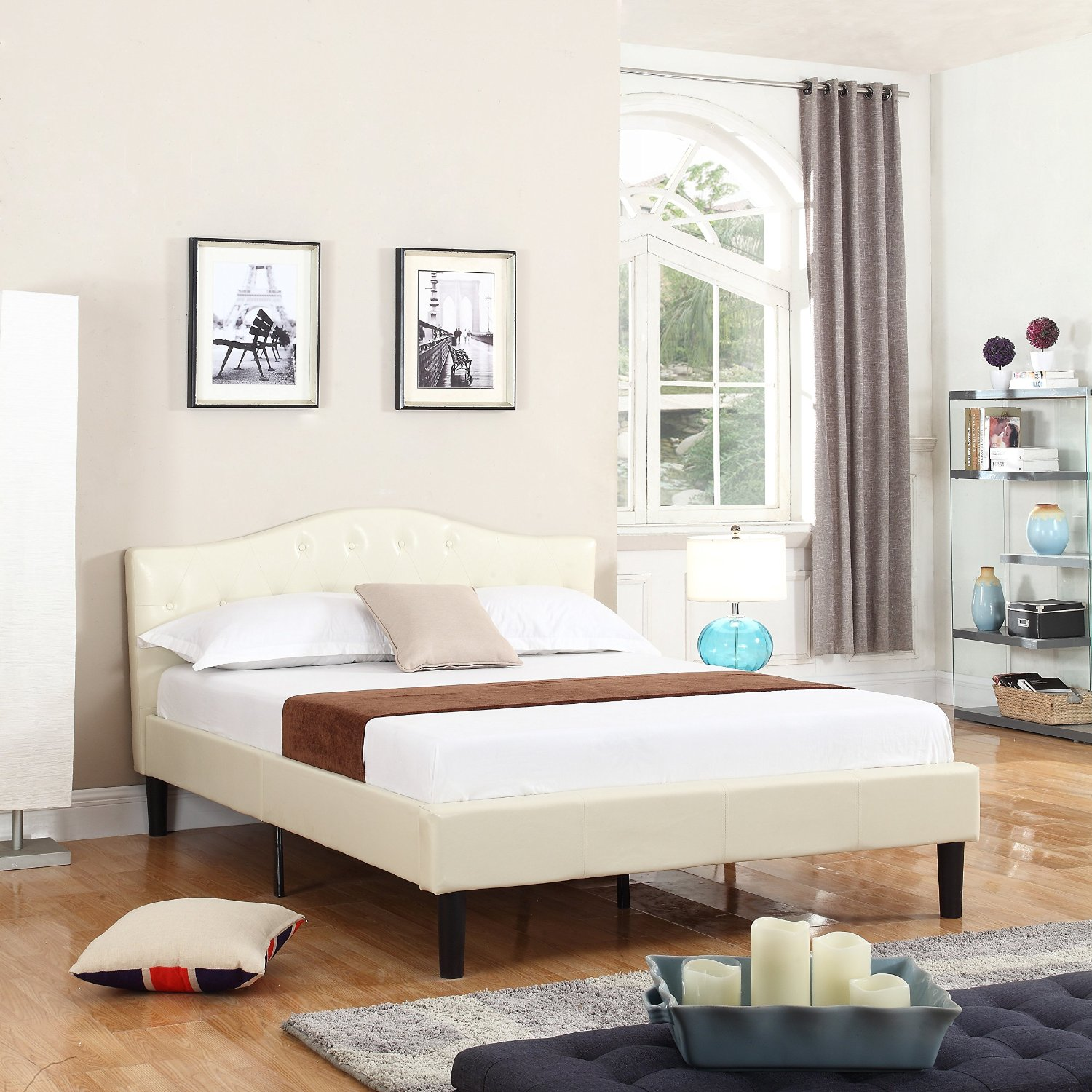 Divano Roma Furniture Classic Deluxe Bonded Leather Low Profile Platform Bed Frame with Curved Headboard Design and Button Details - Fits Full Mattresses - Ivory