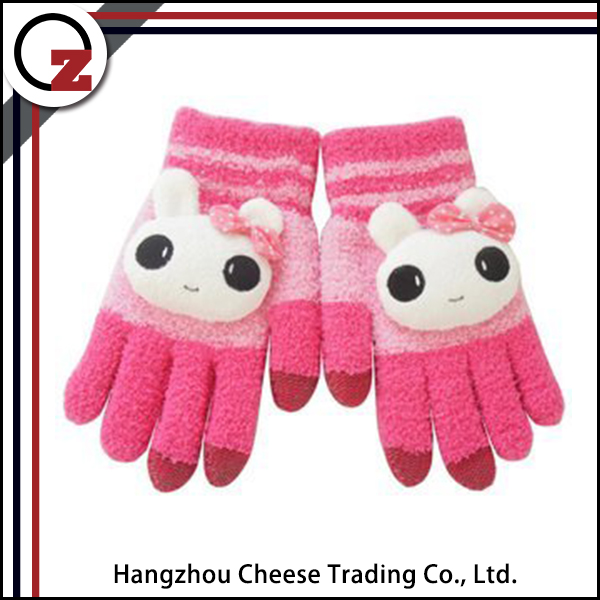 Girls cute cheap winter gloves for touch screen
