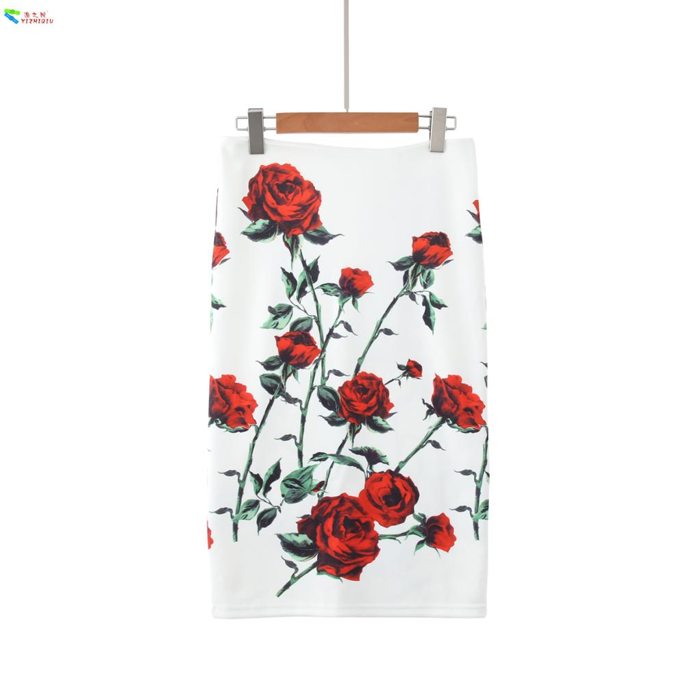 YIZHIQIU Custom Print One Step Floral Linen Skirts