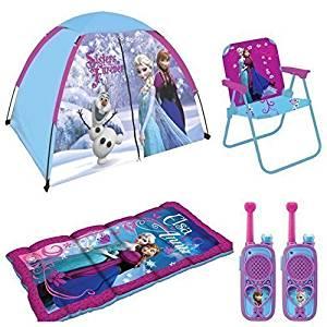 Disney Frozen Kids Indoor/Outdoor Adventure 5 Piece Camp Set - 4' x 3' Tent, Sleeping Bag, Patio Chair and Walkie Talkies