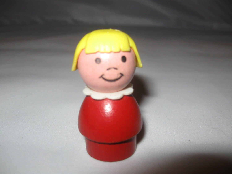 Vintage Fisher Price Little People Red Girl, Blonde Hair, Wood Base, Wood Head