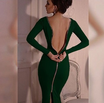 Fall Zipper Code Woman Solid Color Sexy Summer Tight Dress