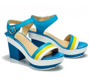 Female high-heeled sandals summer hit color stripe muffin thick crust waterproof with high-heeled open-toed sandals