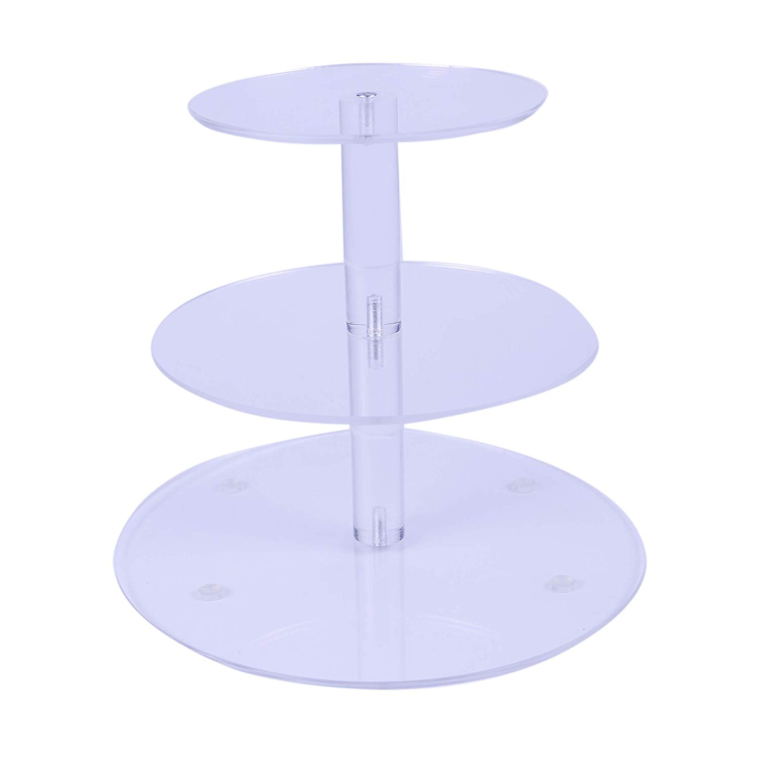 """VONTERP 3 tier acrylic cupcake stand Clear Acrylic Cupcake Stand Wedding Birthday Display stand ((3 tier round (4.7"""" Layer spacing))"""