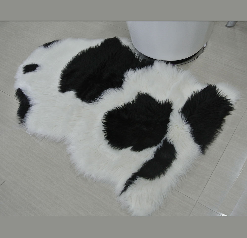 living room faux fur rug with jacquard cow pattern