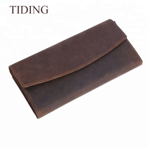 Tiding High Quality Dark Brown Genuine Human Leather Wallet For Men Leather Long Slim Wallet Card