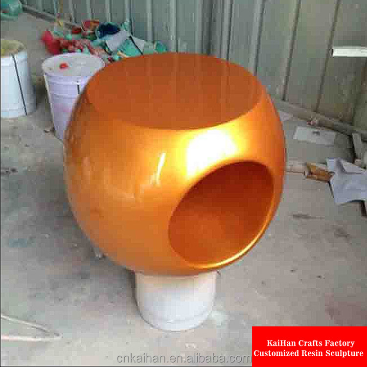 fiberglass FRP outdoor ball chair in gold leaf color