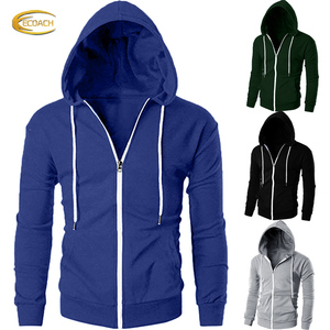 Ecoach 100%cotton french terry Casual Fit Long Sleeve Lightweight full face zip Pullover Hoodie custom mens zip up hoodie