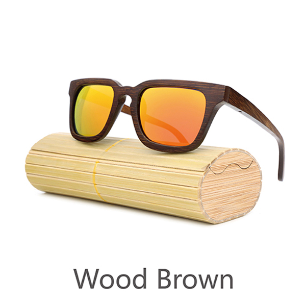 Brown wooden sunglasses wholesale nature 100%full wood square sun glasses