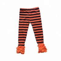 Baby Girls Orange And Black Stripe Ruffle Leggings Toddler Kids Boutique Knit Cotton Icing Pants