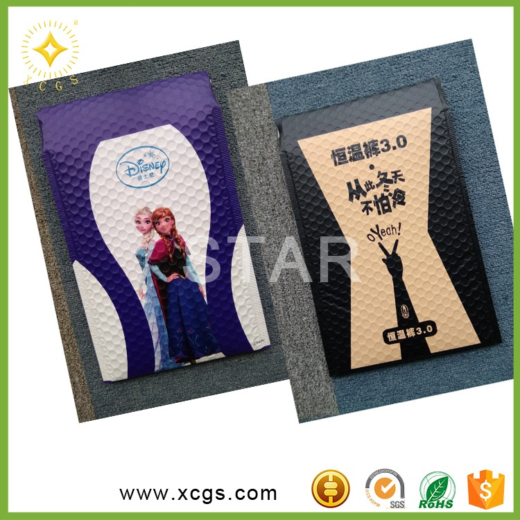 Zip courier cosmetics Colorful Metallic bubble mailer Aluminized foil bubble envelope steel fitting plastic VMPET/CPE poly bags