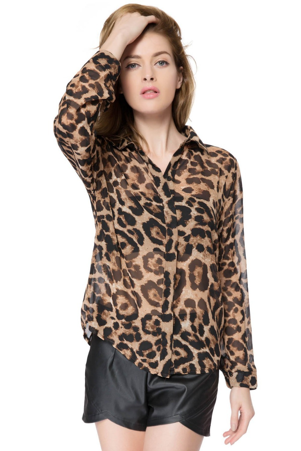 2f3c5300de6 Get Quotations · New Stylish Shirt Collar Long Sleeve Leopard Print Chiffon  Blouse For Women Polyester Fashion Leisure Clothes