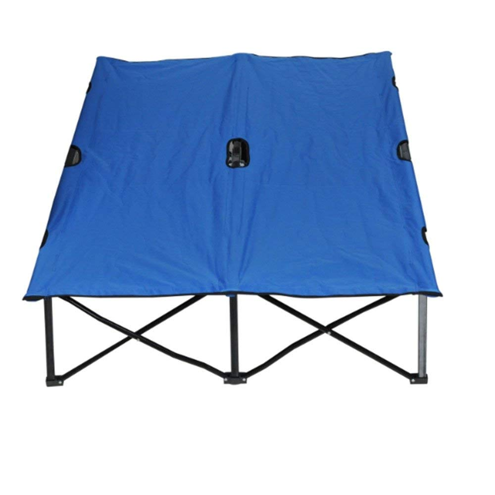 "Strong Breathable Two Person Camping Cot For Adults Lightweight Portable Camping Bed Compact Folding Cot Military Style Cot Perfect For Base Camp, Hiking and Hunting Double Wide Cot 76"" With Storage B"