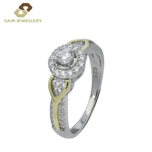 Newest 9 Carat K Gold and Sterling 925 Silver Halo Prong Setting Zircon Women's Cluster Wedding Rings Jewelry