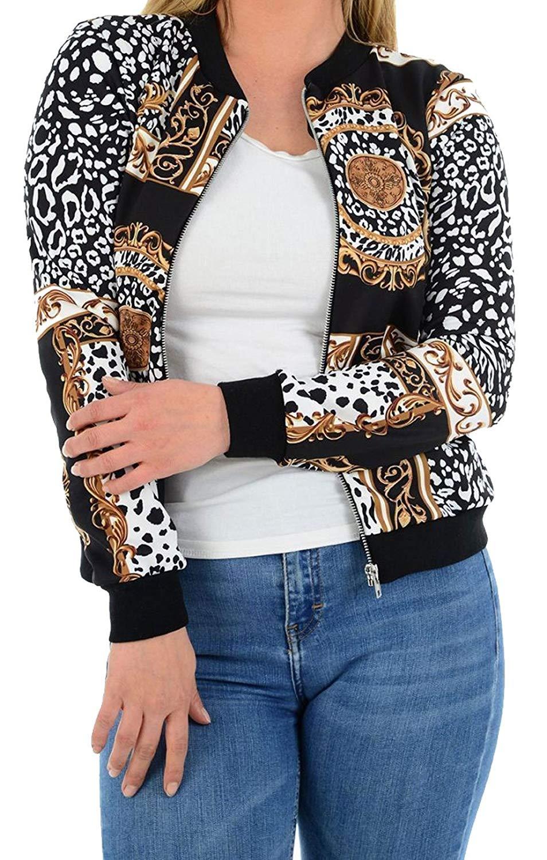 51330e5fb59 FASHION FAIRIES Zipper Bomber Jacket Womens Baroque Leopard Scarf Print  Long Sleeve Coat Top
